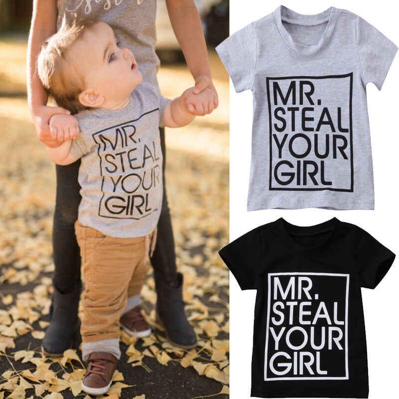 Peuter Kids T-shirt Zomer Korte Mouw Baby Boy Meisjes Brief MR stelen Print Tee Shirt Casual Tops Shirts Tee Kids kleding