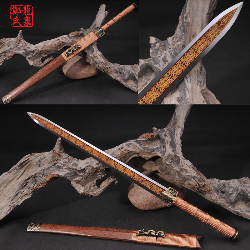 Cold Steel Chinese Sword Sharp Blade Etching Antique Pattern Rose Wood Metal Craft Home Decorative Novel Souvenir-Han Jian