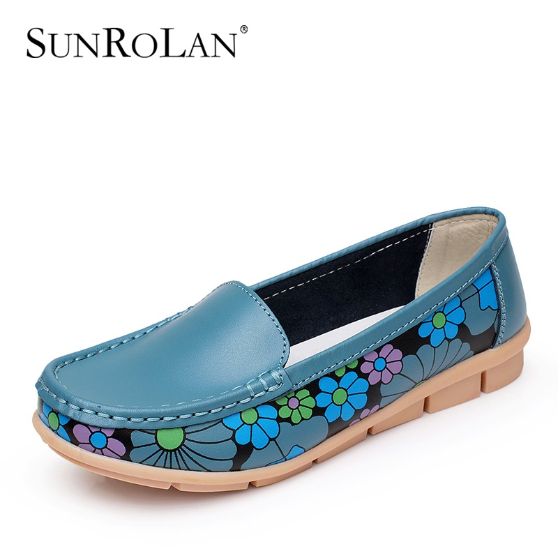 SUNROLAN 2017 New Spring Women Cow Split Ballet Flats Casual Shoes Women Round Toe Flats Slip-On Loafers Ballerina Flats YP873 2017 spring summer new women casual pointed toe loafers flats ballet ballerina flat shoes plus size 34 43