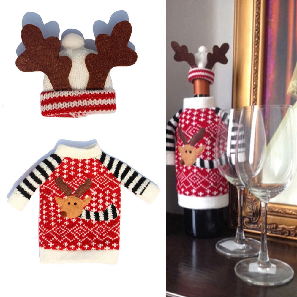 1 Set Wijnfles Cover Xmas Kerstman Herten Tafel Decor Kerst Fles Cover Cap Party Decoratie Geschenken Goede Reputatie Over De Hele Wereld