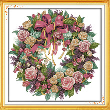 Фотография Joy Sunday The Beautiful wreath of roses DMC Counted Chinese Cross Stitch Kits printed Cross-stitch set Embroidery Needlework