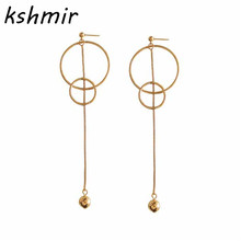 Stud earrings  atmosphere exaggerated fashion tide female circle long super auras minimalist jewelry