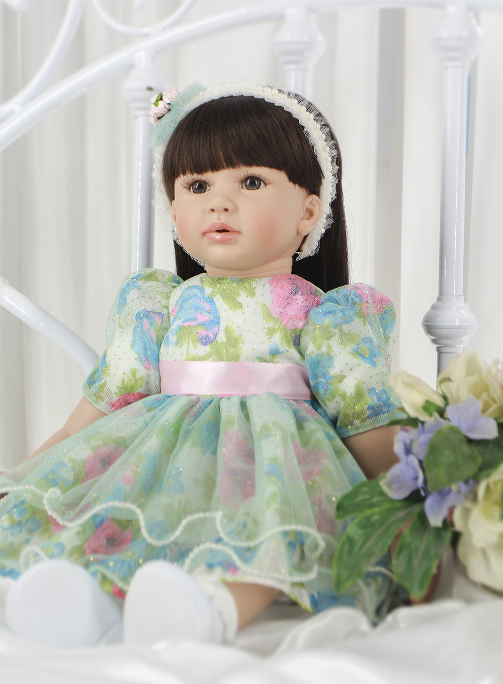Pursue 24/60 cm Light Green Dress Princess Doll Reborn Silicone Toddler Girl Baby Doll Toys for Children Girl Birthday Gift pursue 22 56 cm big smile face reborn boy toddler baby doll cotton body vinyl silicone baby boy doll for children birthday gift