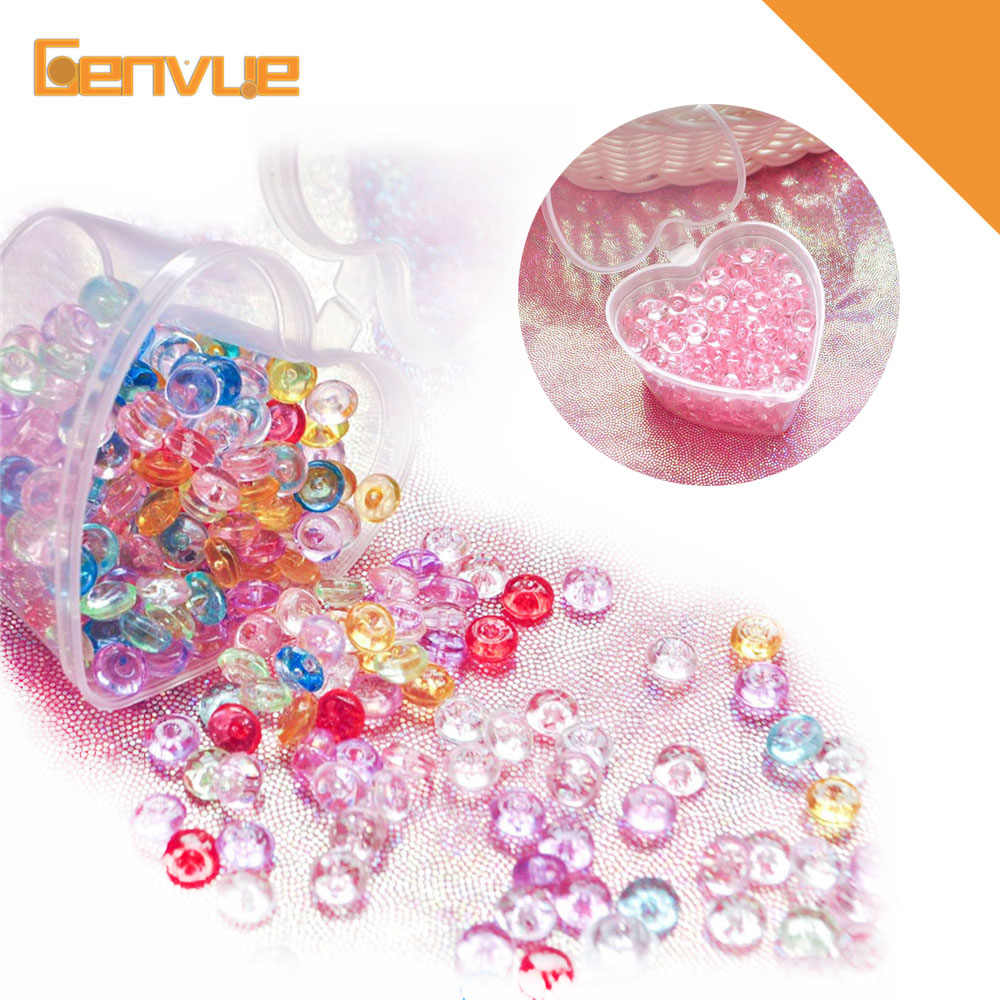 Crystal Flat Fishbowl Beads Rubber Colorful Balls Addition For Charms Slime Supplies DIY Slime Decor for Slime With Heart-Box