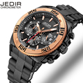 JEDIR Auto Date Chronograph Men Watch Waterproof Fashion Casual Silicone Strap Military Sport Watches Clock Relogio masculino