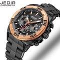 Jedir auto fecha cronógrafo reloj de los hombres a prueba de agua moda casual correa de silicona relojes deportivos reloj militar relogio masculino