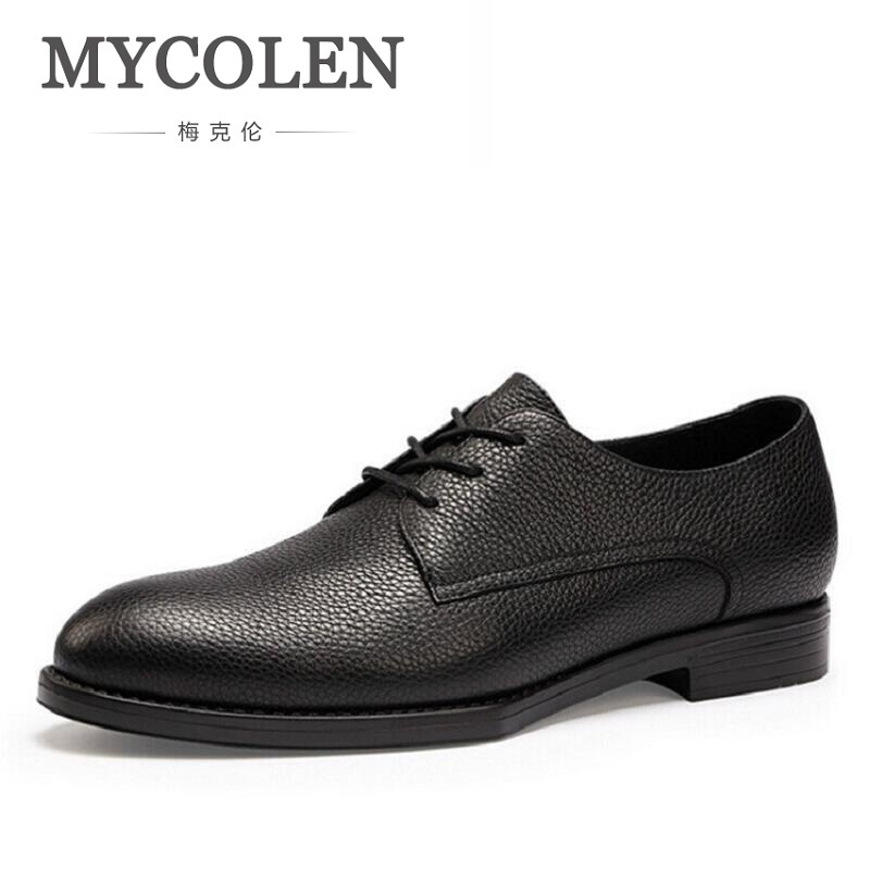 MYCOLEN New Retro Leather Men Oxford Shoes Lace Up Casual Business Men Shoes Fashion Brand Black Men Dress Shoes sepatu pria mycolen 2018 new fashion mens oxfords vintage dress shoes luxury brand comfort office man shoes for party sepatu pria