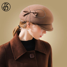 FS French Womens Hat Black Beret Wool Felt Fedoras Caps Winter Bow Berets For Women Autumn Warm Hats Femme Hiver