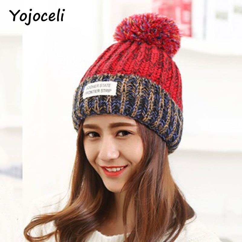 Yojoceli 2017 new soft pompon hats for women skullies beanies Autumn knitted stocking hat Warm sweater winter cap female 2017 new lace beanies hats for women skullies baggy cap autumn winter russia designer skullies