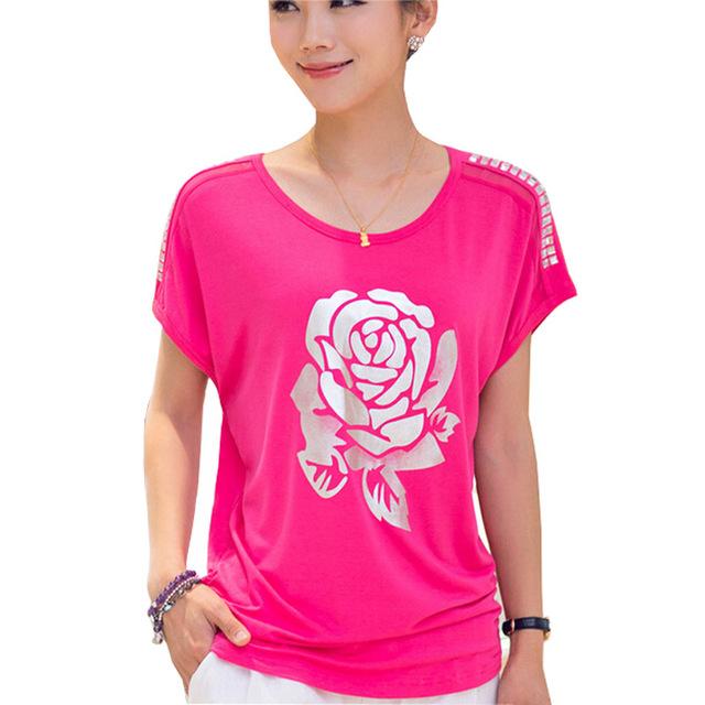 Belleza Rose impreso señora moda camisetas tallas L-4XL Batwing manga Tops de verano 2016 Loose Women Casual Tees