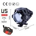1 pair 125W Motorcycle Headlight Motorbike spotlight 3000LM Motos U5 LED Cree chip Driving Spot Head Light auxiliary Lamp 2016