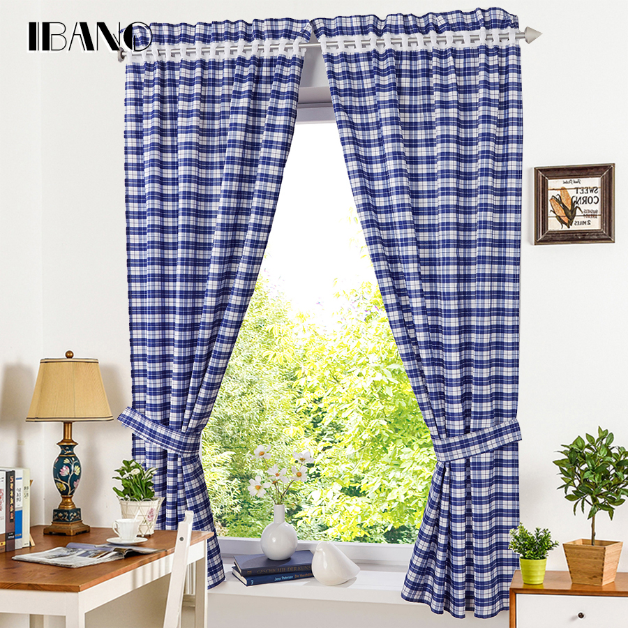 Roman Shade European Style Plaid Window Curtain Kitchen Curtain Voile Tab Top Window Brand Curtains Cortinas With Blet