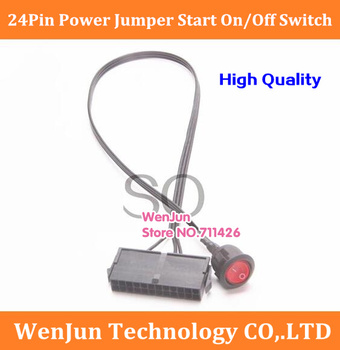 Free Shiping 50cm new PC 24Pin motherboard ATX/EPS Power Supply Jumper Start On/Off Switch 50-100pcs