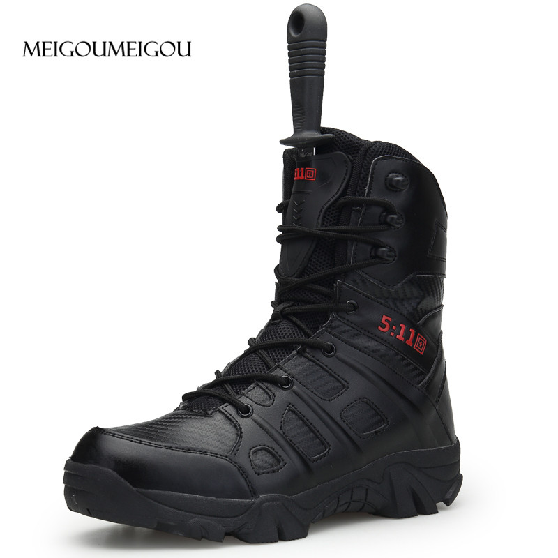 MEIGOUMEIGOU New Men Army Boots High Quality Durable Men Hiking Boots Non slip Waterproof Climbing Boots Men Big Size 39 47