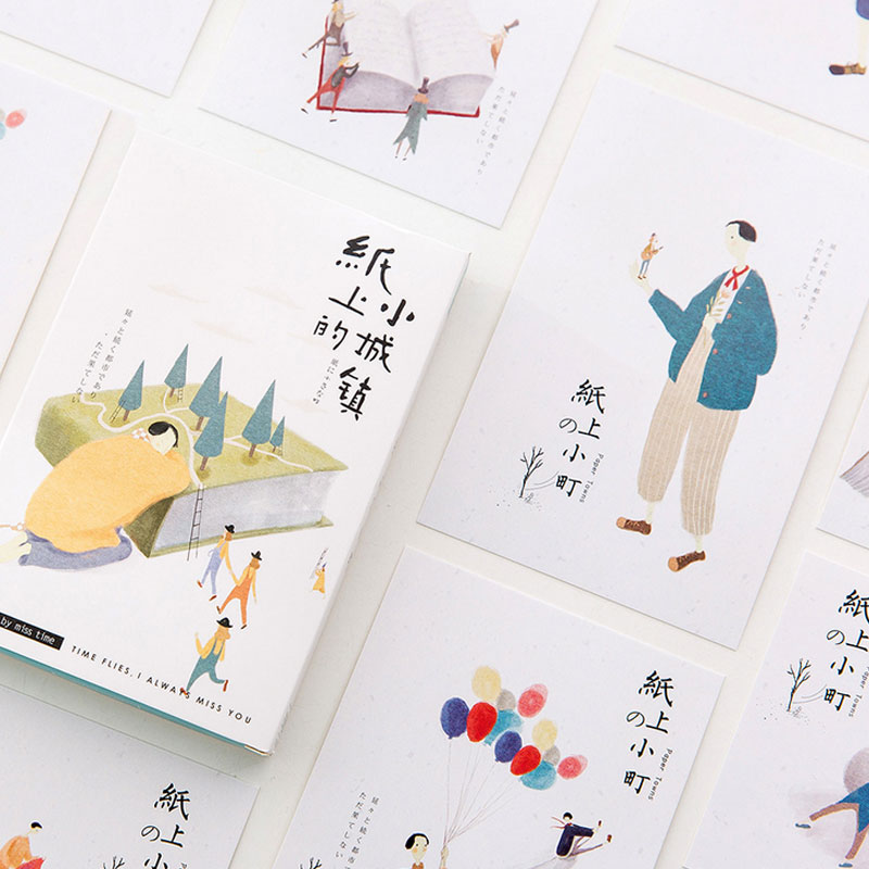 30 pcs/lot town on Paper Cartoon illustration postcard paper card greeting card christmas&birthday message gift cards