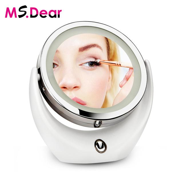 2017 Nuevo Doble Cara Llevó Luz espejo de Maquillaje Espejo de Vanidad Espejo de Aumento 5X Botón Táctil de 360 Grados de Rotación USB de Carga