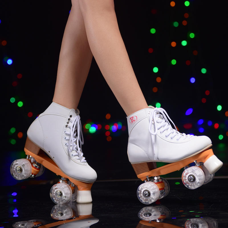 White Roller Skates Yellow Frame White Led Lighting Wheels Double Line Skates Adult 4 Wheels Two line Roller Skating Shoes reniaever double roller skates skating shoe gift girls black wheels roller shoe figure skates white free shipping