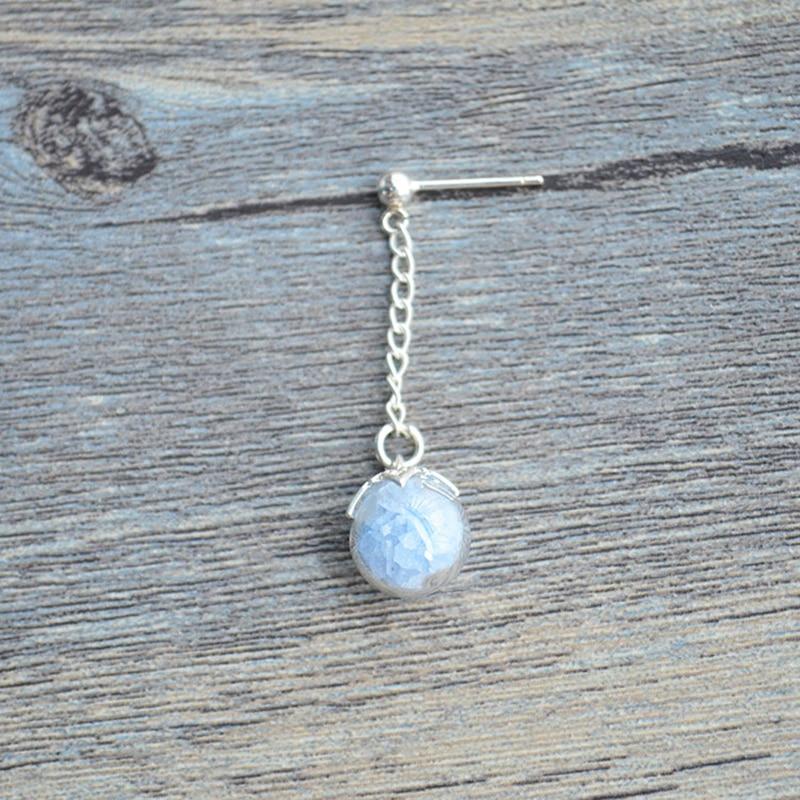 a Pair Blue Glow In The Dark Long Chain 925 Sterling Silver Stud Earrings For Women Jewelry Bohemian Korean Vintage Cute Boho