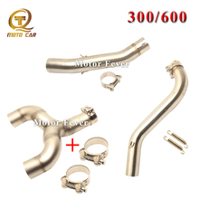 Motorcycle Exhaust Connect Adapter Middle Tube pipe for Benelli 600 300 Ship On MID Link Pipe 51mm Scooter Clamp Escape Muffler