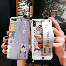 cat paw silicon case for iphone 8 7 6 6s plus X XR XS MAX cover fashion cute cartoon wristband holder soft phone bag capa