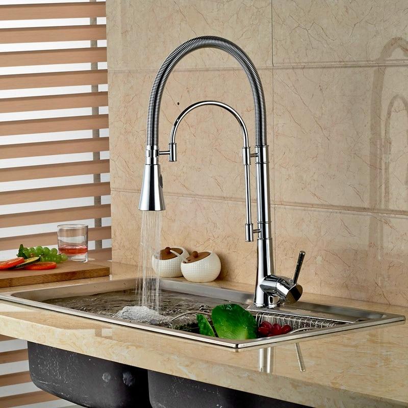 Single Lever Brass Chrome Polish Kitchen Faucet Pull Down Spout Hot&Cold Faucet Deck Mounted niko 50pcs chrome single coil pickup screws