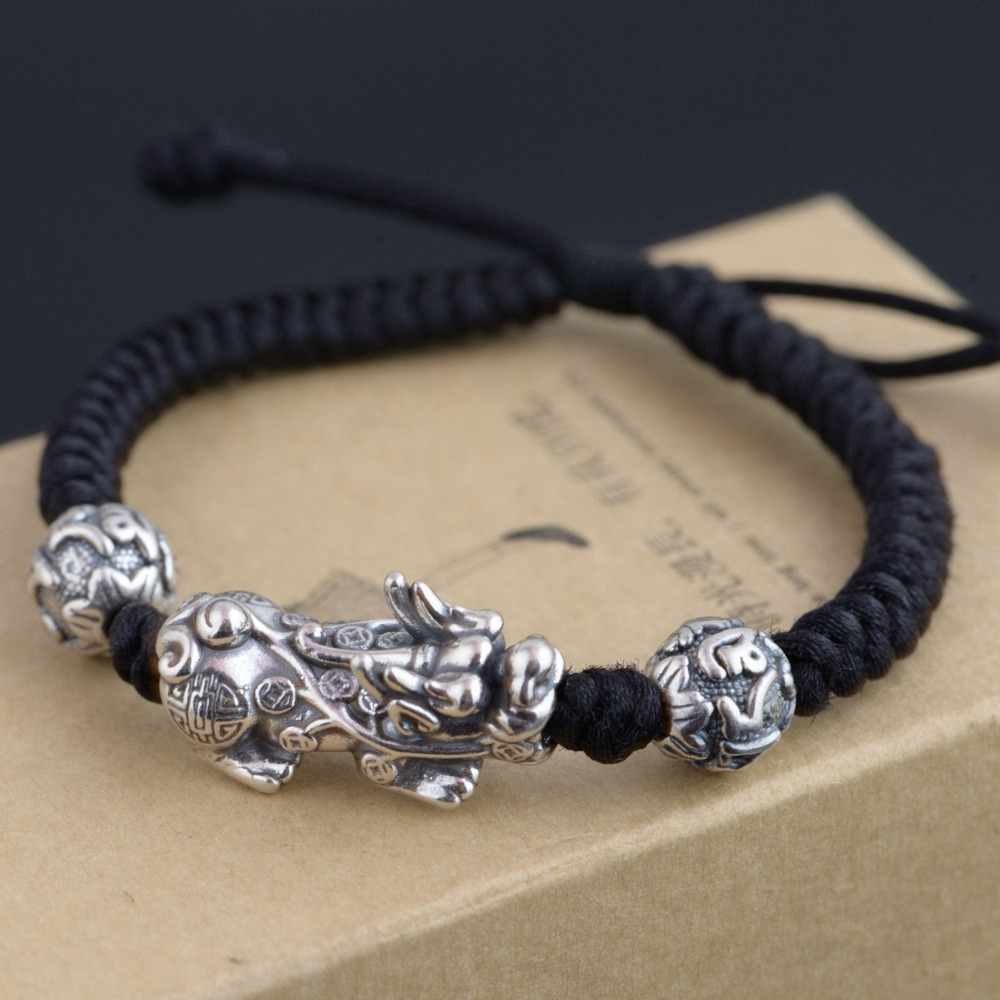 Handmade 999 Silver Pixiu Bracelet 3D Silver Wealth Pixiu Beaded Bracelet Tibetan Six Words Proverb Beads Bracelet Good Luck