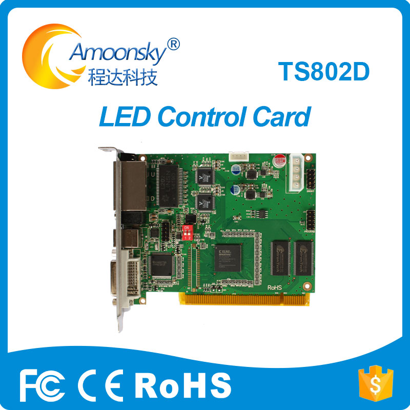 Linsn TS802D control system Sending card For Large p10 Full color LED module display control card diy kits p10 led display outdoor full color 20pcs 32 16pixel 320 160mm rgb module 5v 40a power supply 4pcs 1pcs control card