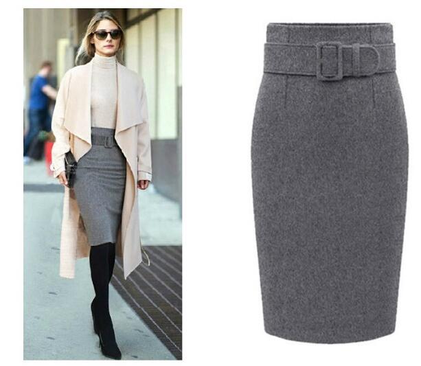 new fashion winter 2017 cotton plus size high waist saias femininas casual  midi pencil skirt women 19748cd428f8