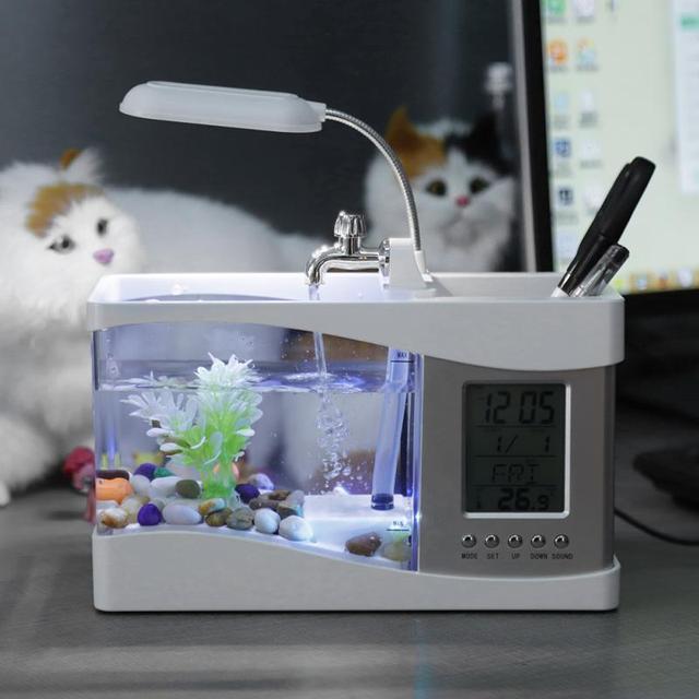Mini Aquarium Fish Tank Aquarium with USB LED Lamp Light 2