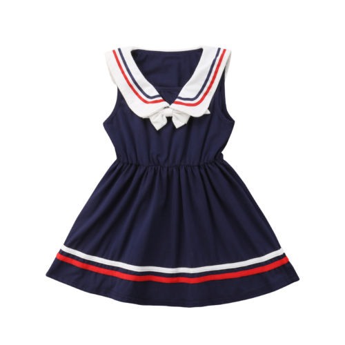 a692601508c Kids Baby Girl Summer Dress Bowknot Sailor Stripes Navy Dresses V Neck  Princess Clothes Girls Clothing 6M 5T-in Dresses from Mother   Kids on  Aliexpress.com ...