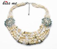 New Styles Statement Fashion Elegant Imitation Pearls Multilayers Beaded Chain Banquet Necklaces Pendant 2014