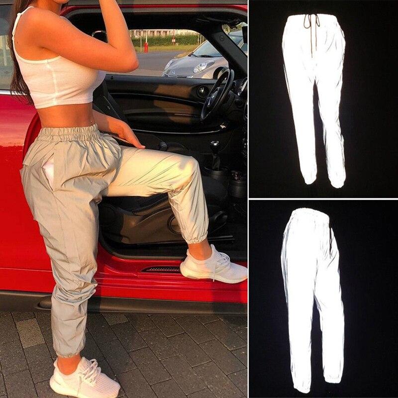 Fashion Women's Reflective Light Pants Hip Hop Dance Show Party Night Cool Baggy Leggings NEW XS-L