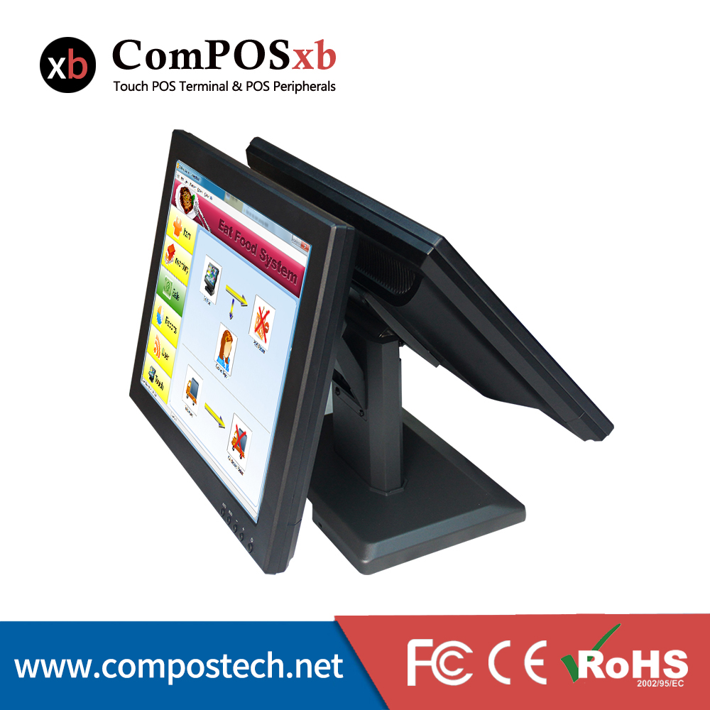 цена на Free Shipping Double Screen Monitor 15 Inch High Definition Dual Touch Screen Monitor LCD And Monitor