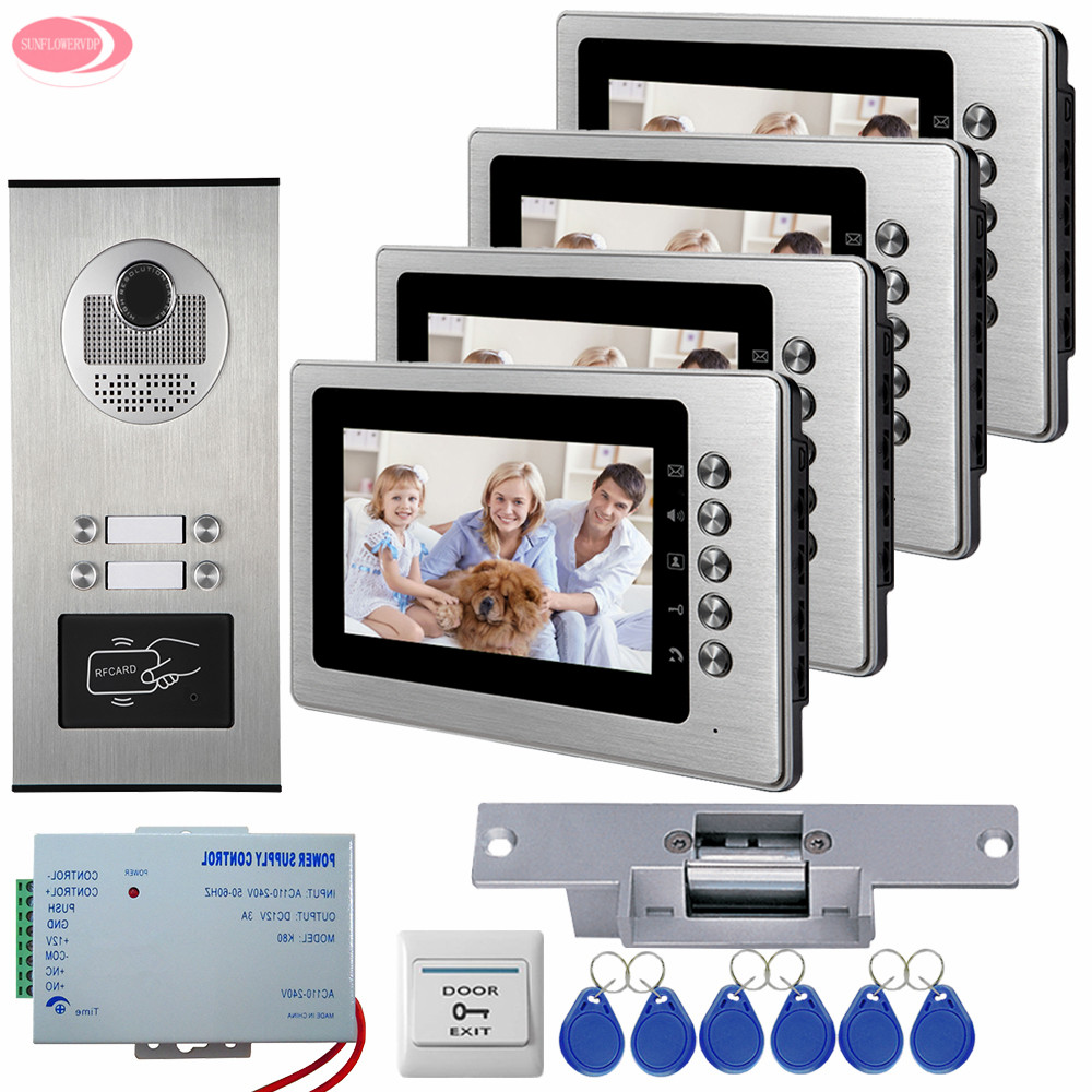 7'' Video Intercom Video Call On The Door Of The Apartment Videophone 4 Monitors RFID Access Outdoor Camera Electric Strike Lock