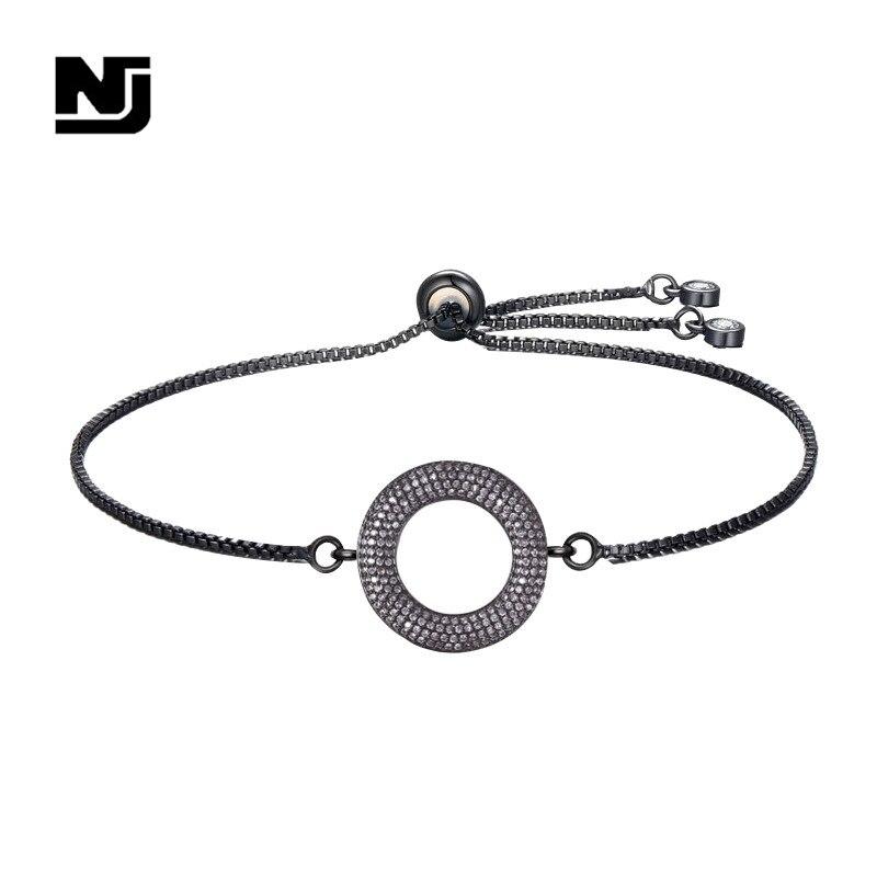 NJ New Cool Black Geometric Charm Women Bracelets Zirconia Adjustable Female Chain Personality Jewelry