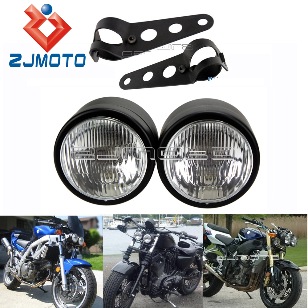 XMT-MOTO Matte Black Dual 4 Headlight For Streetfighter Cafe Racer Dual Sport Motorcycle