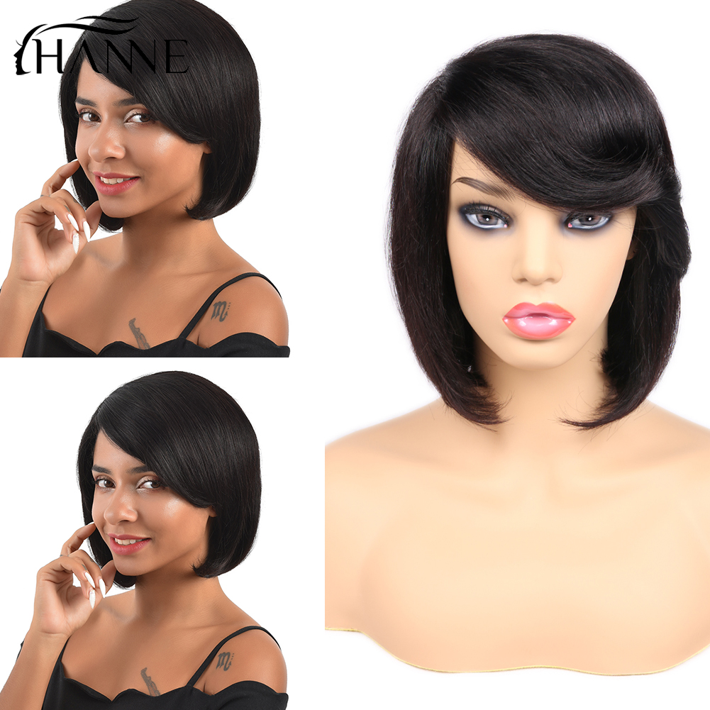 HANNE Hair Short Natural Black Bob Wigs For Women With Oblique Bangs Straight Wigs 10 '' Free Shipping Free Gifts Fast Delivery