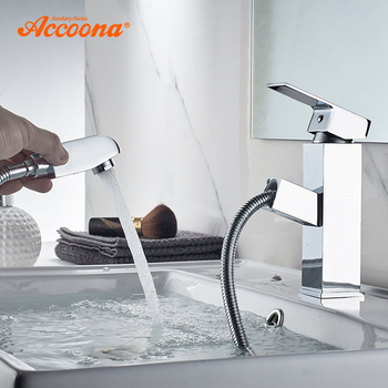 Accoona Single lever Bathroom Faucet Chrome Polished Solid Brass Pull out Basin Mixer Tap Water Mixer Taps Faucets A9290-3