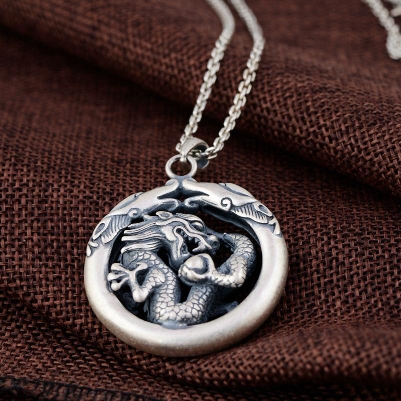 2019 réel 100% 925 pendentifs Dragon en argent Sterling pour hommes Vintage Animal Thai bijoux en argent cadeaux accessoires sans chaîne