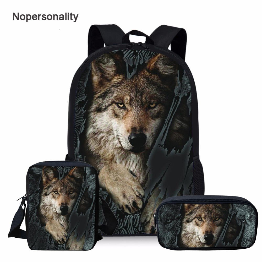 Nopersonality Backpack-Sets Wild-Wolf-Print Cool Girls Teenager Boys Children 16inch