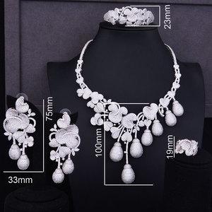Image 2 - Budki Flor de lujo Bud mezclado mujeres circonia cúbico de boda collar pendiente Arabia Saudita conjunto de joyas adicciones a la joyería