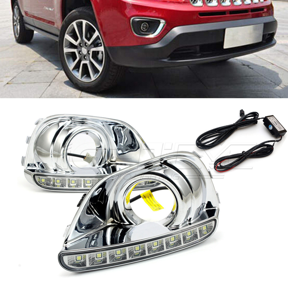 For JEEP COMPASS 2013 2014 High Quality Car-special LED Daytime Running Light with Fog Lamp Cover  DRL D15 high quality h3 led 20w led projector high power white car auto drl daytime running lights headlight fog lamp bulb dc12v