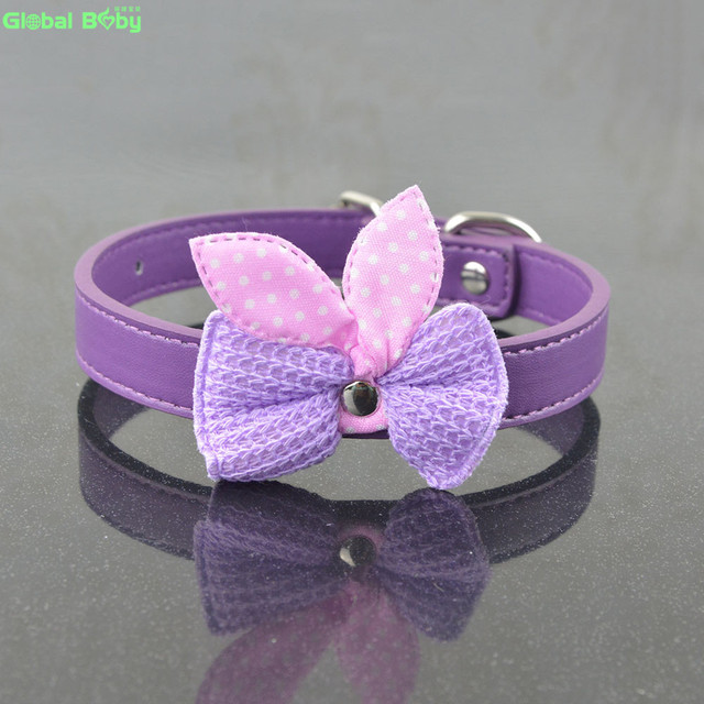 New Arrival Fashion Pu Leather Small Dog Collar Pet Necklace with Butterfly Knot