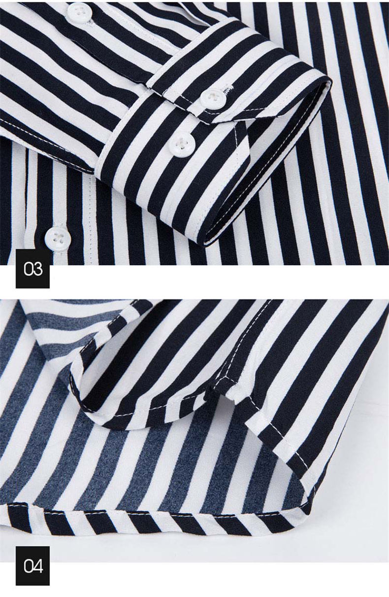 5XL Plus Large Size Striped Shirts Men Long Sleeve Casual Autumn Spring Classic Male Shirts Non-Iron Dress Shirts Man Muls Brand 1