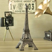 1 set Bronze Tone Paris Eiffel Tower Figurine Statue Vintage Alloy Model Wedding Party Gift Home Decor 32cm