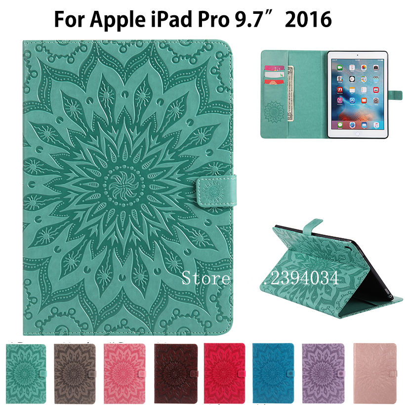 Case For iPad Pro 9.7 Smart Cover Tablet Sun Embossed Leather Case For Apple iPad Pro 9.7 inch 2016 Release Funda Stand Shell for apple ipad pro 12 9 inch pu leather stand cover flip back case luxury business style smart tablet cover for ipad pro