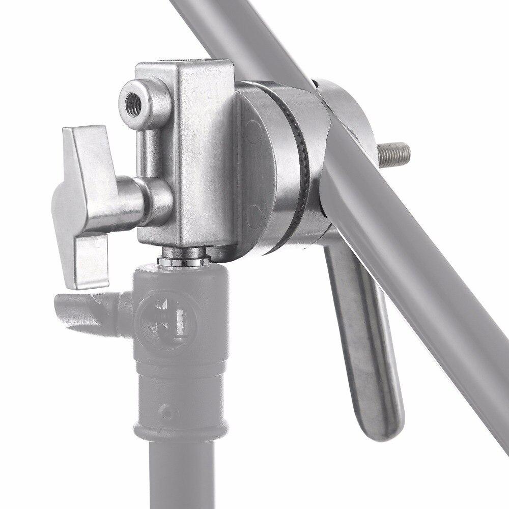 Meking 4-в-1 металлический зажимной головкой ложки с длинной ручкой для складывающаяся штанга микрофона штангу перекрестные штанги для крепления лампы светильник подставки Heavy Duty для c-стоек трубок Studio