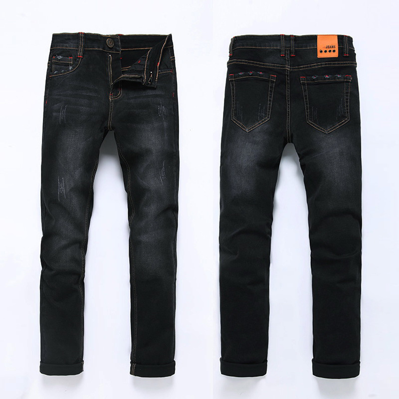 High Quality 2019 Fashion Demin Jeans Men Slim Fit Black & Blue Color Plus Bigger Size 28-46 48