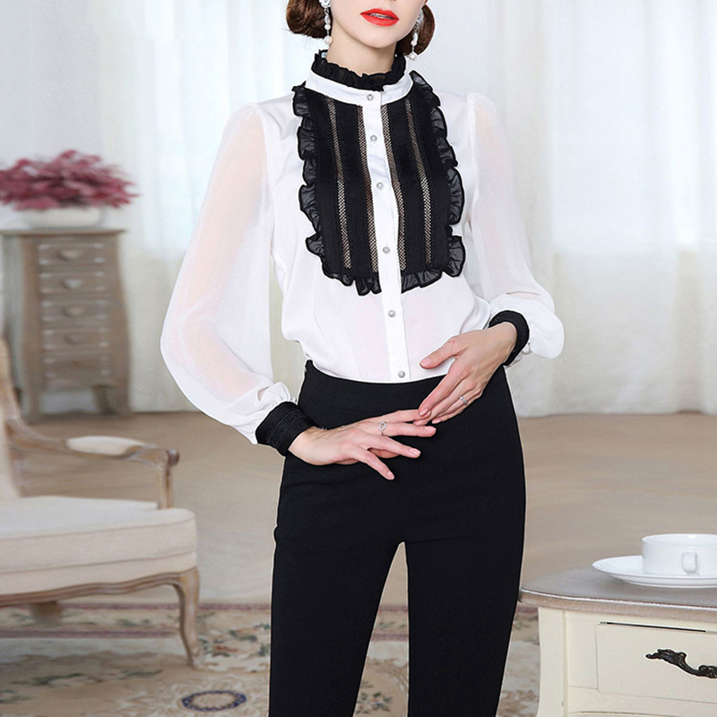 High End Women Satin Silk Blouse Shirt 2018 Summer New Long Puff Sleeve Ruffles Collar Silk Satin Blouses Shirts Women Tops