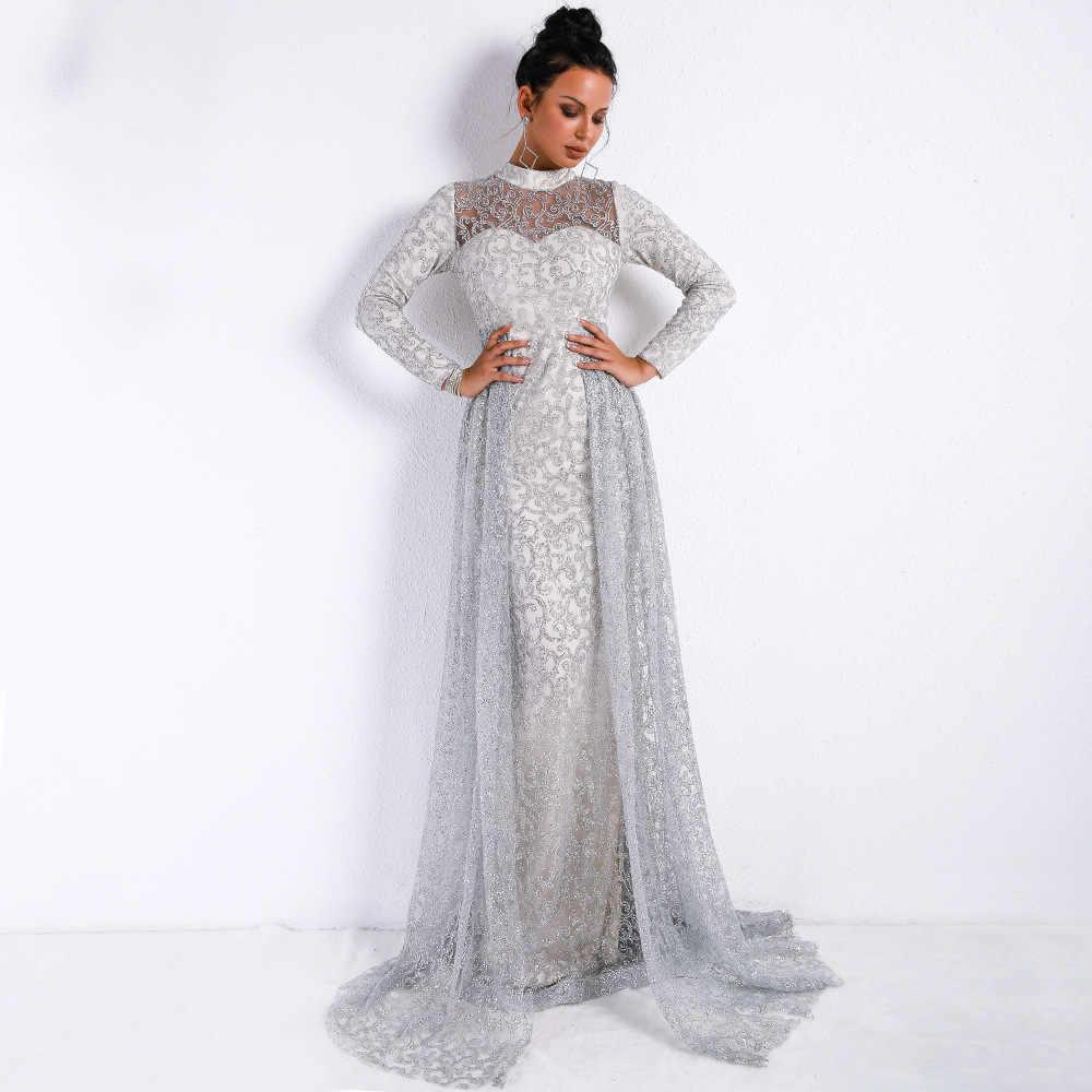 deb1bbed310e2c2 Одежда высшего качества водолазка пол Длина платье с длинным рукавом Мода  знаменитостей Вечеринка элегантный Для женщин